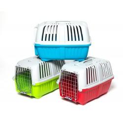Транспортна клетка за котки или кученца. Транспортната клетка е с метална вратичка и се предлага в три цвята