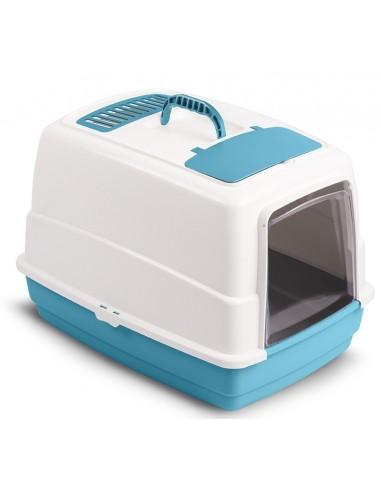 Затворена котешка тоалетна с филтър, лопатка и дръжка за лесно пренасяне. Затворена котешка тоалетна в синьо-бял цвят.