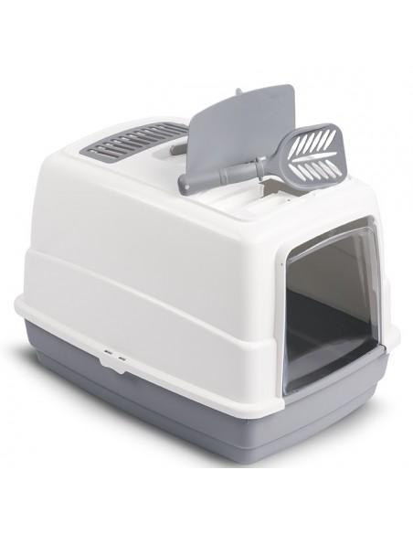 Затворена котешка тоалетна с филтър, лопатка и дръжка за лесно пренасяне.