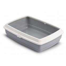 Отворена котешка тоалетна. Изработена от пластмаса, котешката тоалетна е в сив цвят