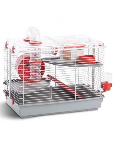 клетка за хамстери, напълно оборудвана клетка за хамстери с хранилка и къщичка, клетката за хамстери е на два етажа